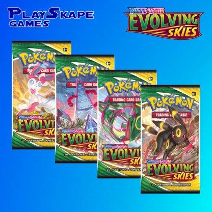 Evolving-Skies-Sword-And-Shield-Pokemon-TCG-SWSH7-Booster-Pack-Umbreon-Rayquaza-Sylveon-Duraldon-Art-Set-Artset-Pack-Arts