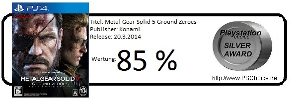 Metal Gear Solid 5 Ground Zeroes PS4 - Die Wertung von Playstation Choice