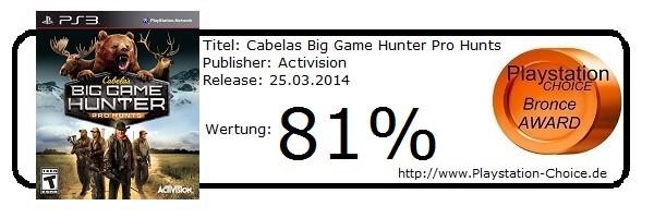 Cabelas Big Game Hunter Pro Hunts PS3 - Die Wertung von Playstation Choice