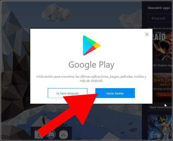 sign in Google Play BlueStacks