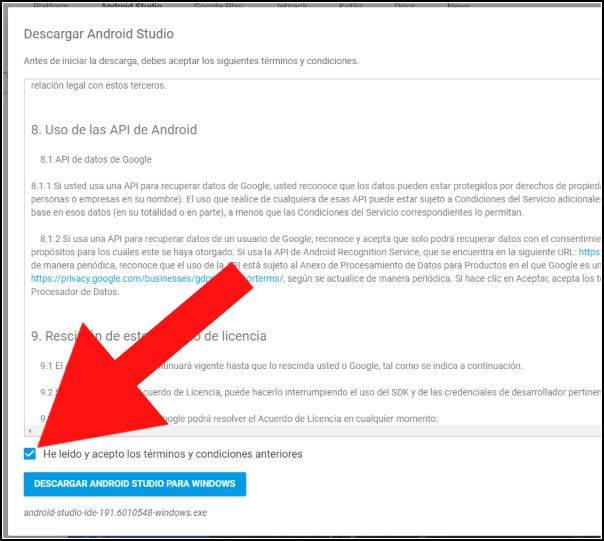 aceptar licencia Android Studio