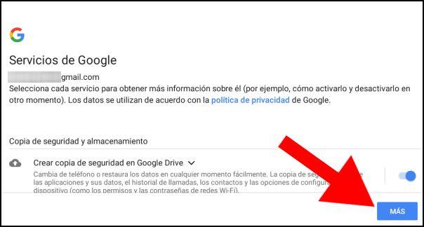 servicios de Google, copia de seguridad