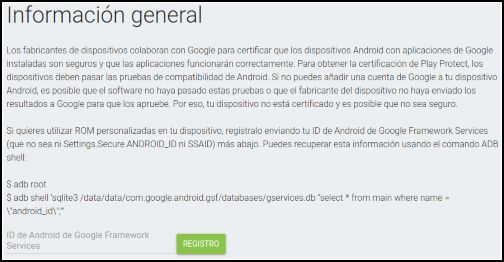 Registro dispositivos de Google