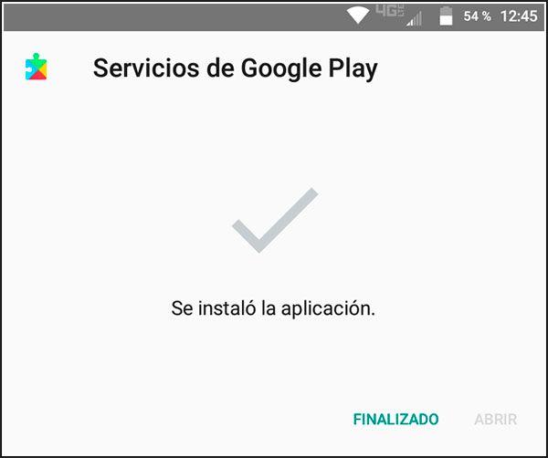 Servicios de Google Play instalados