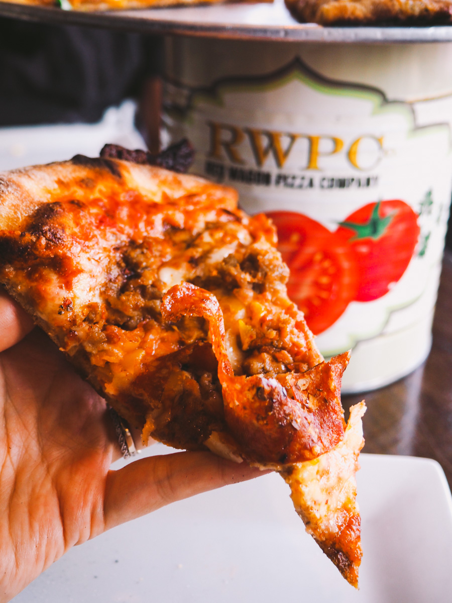 the red wagon pizza (spicy italian sausage, crispy soppressata ribbons, fresh mozzarella blend) at red wagon pizza company in sw minneapolis via playswellwithbutter.com