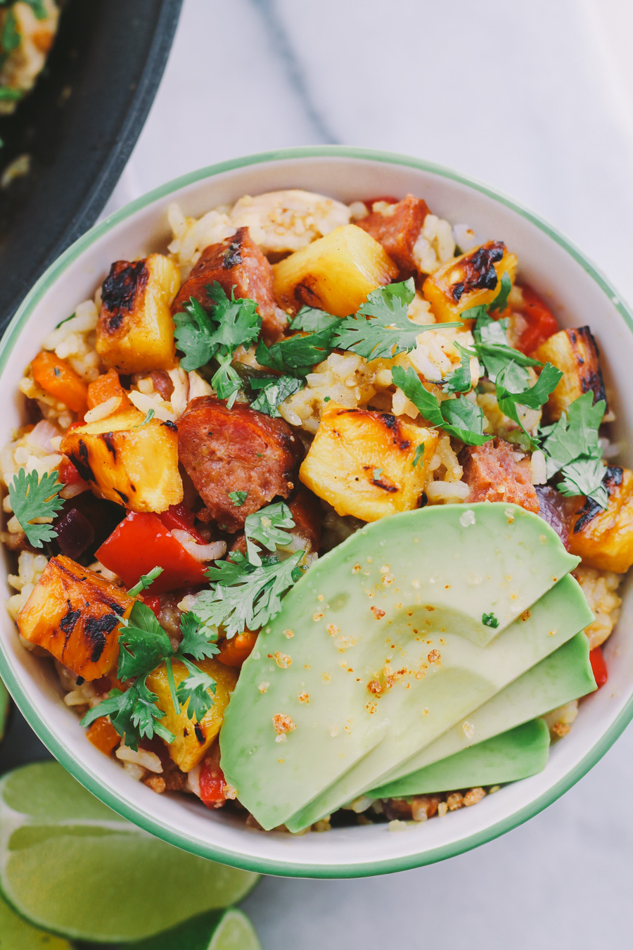 hapa fried rice with grilled pineapple, portuguese sausage & salsa verde via playswellwithbutter