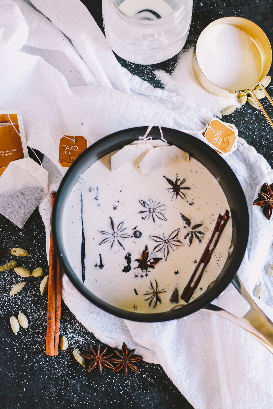 "a modern twist on affogato, this dirty chai affogato ""drowns"" a generous scoop of homemade chai ice cream with a shot of hot espresso   dirty chai   masala chai   affogato   affogato recipe   easy dessert for a crowd   easy entertaining   homemade ice cream recipe"