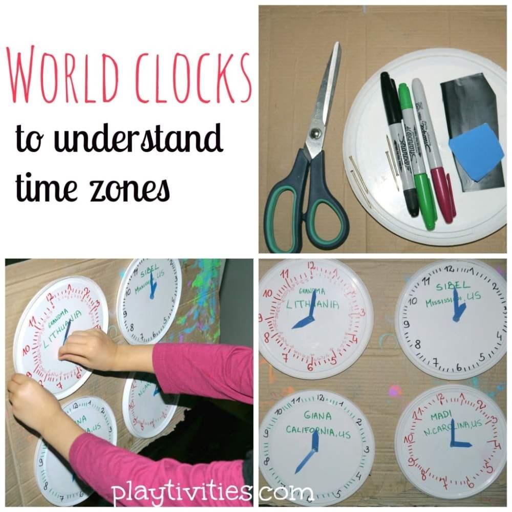 medium resolution of Teaching time zones in simple way - PLAYTIVITIES