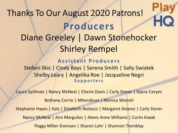 Thanks To Our August 2020 Patrons!
