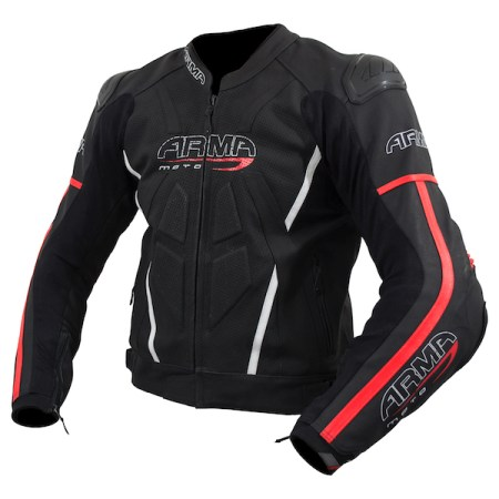 Armr Moto Raiden 2 Leather Motorcycle Jacket Red
