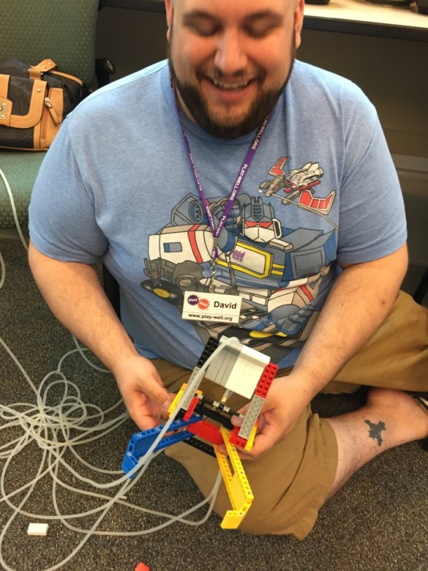 David has created a contraption that uses more LEGO Pneumatic tubes that we have ever seen.