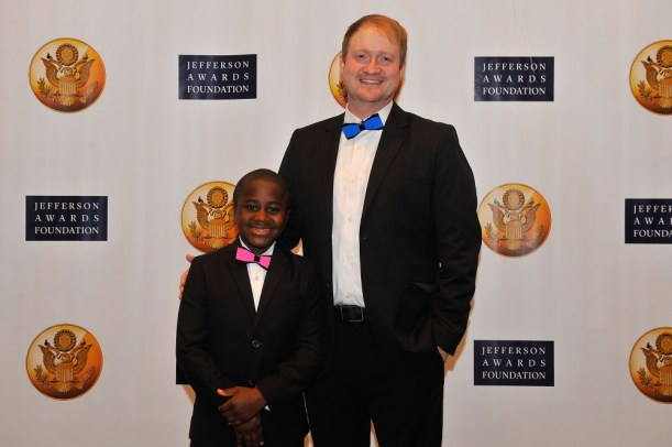 WASHINGTON, DC - JUNE 18: Robby Novak (L) and Brad Montague, co-creators of Kid President appear at the Jefferson Awards Foundation 43rd Annual National Ceremony on June 18, 2015 in Washington, DC. (Photo by Larry French/Getty Images for The Jefferson Awards Foundation)