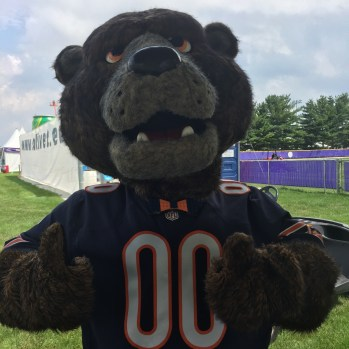 Chicago Bears Mascot Staley rocking a Play-Well LEGO Bow Tie