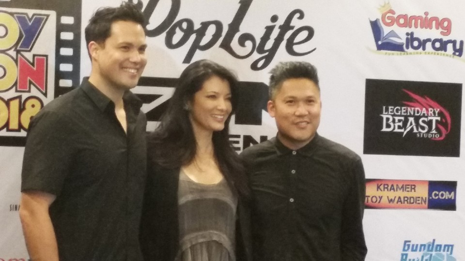 Michael Copon, Kelly Hu, and Dante Basco at Toycon 2018