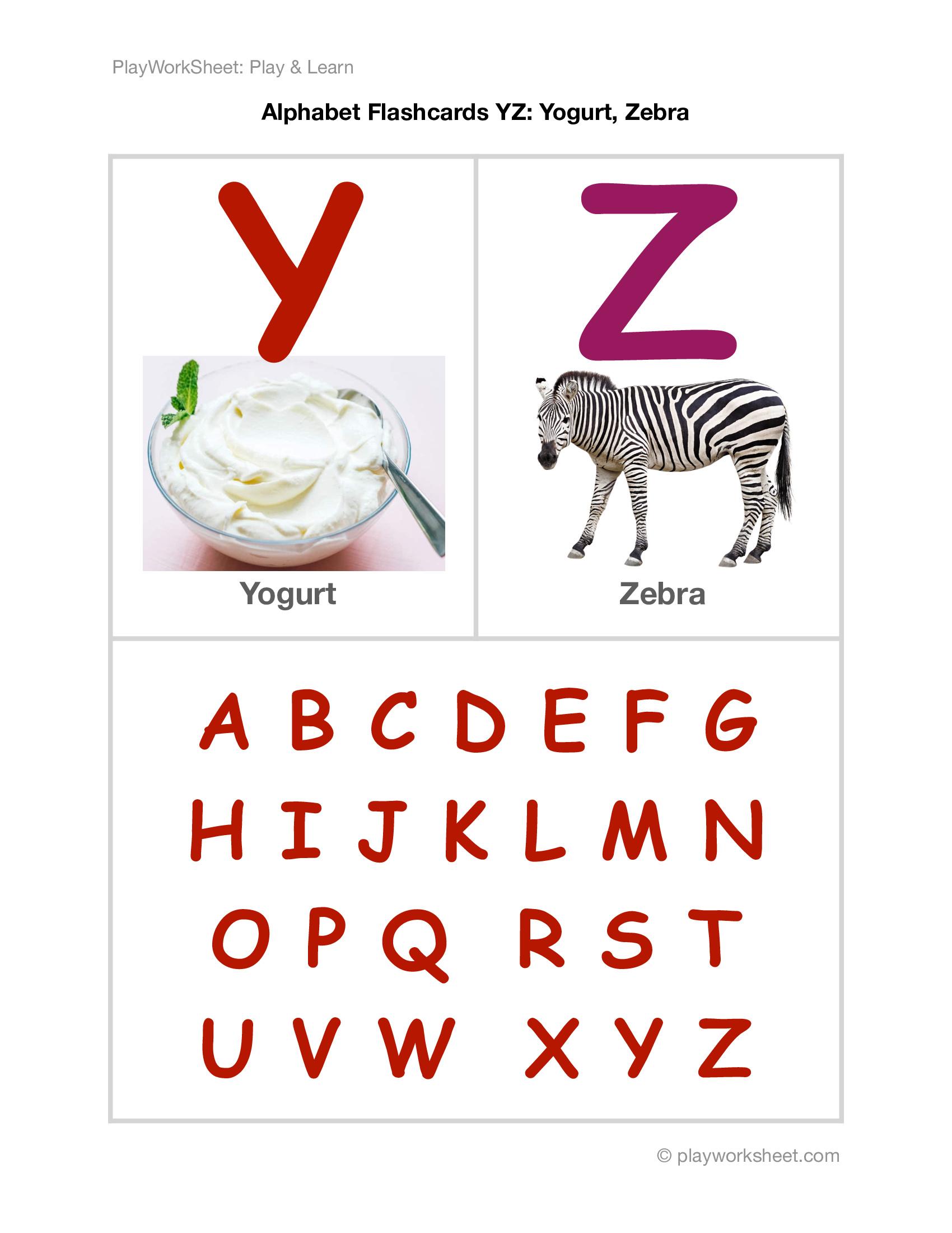 Alphabet Flashcards Yz