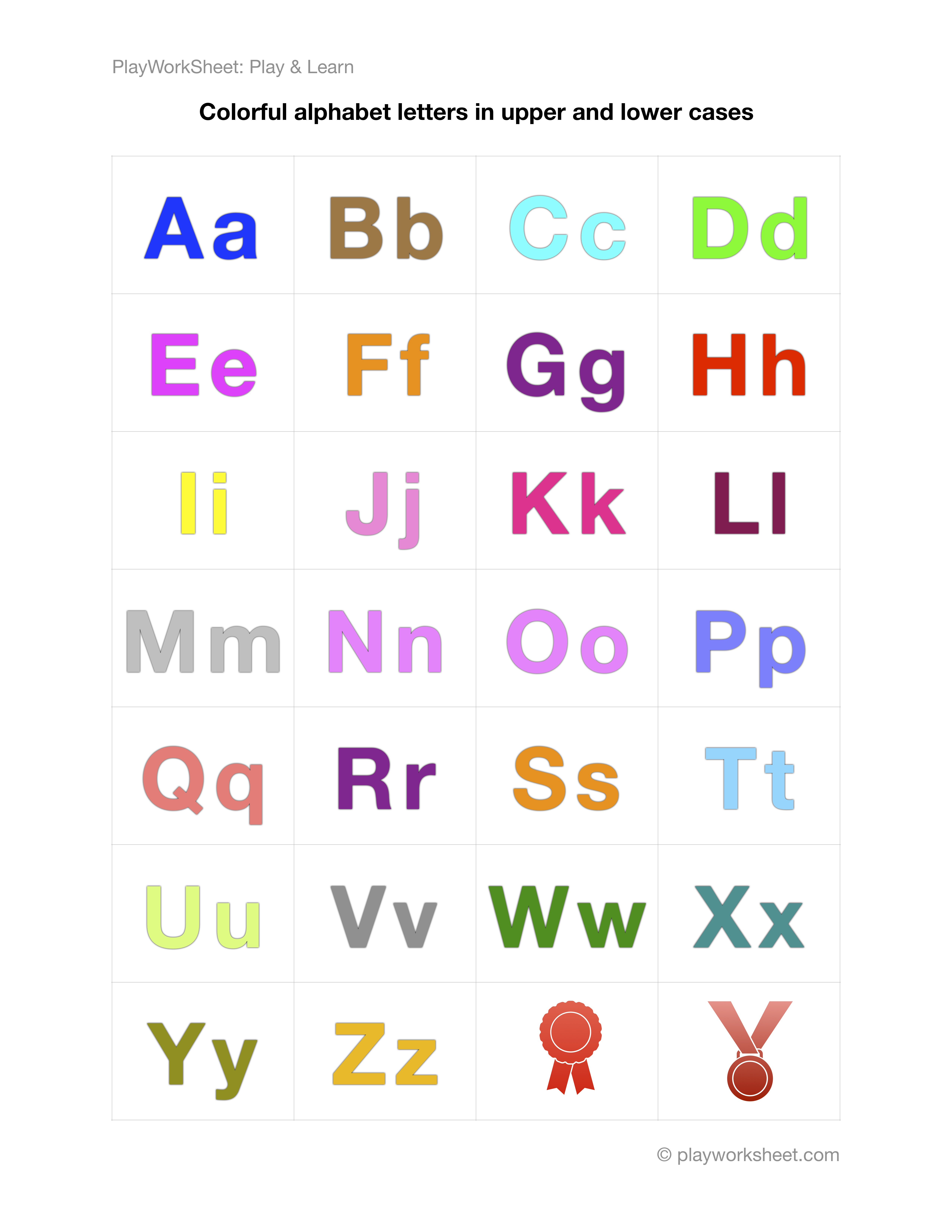 Colorful Alphabet Letters From A To Z In Both Upper And
