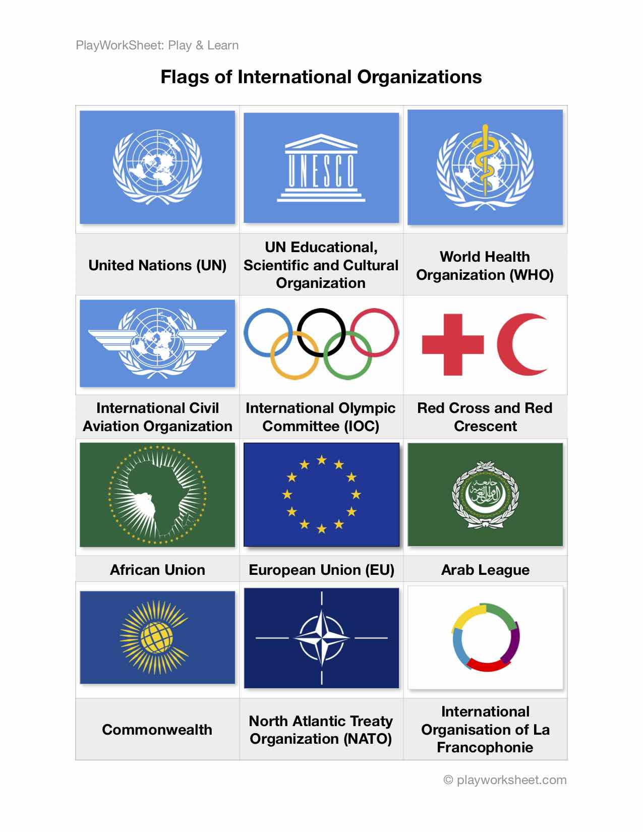 Flags Of International Organizations