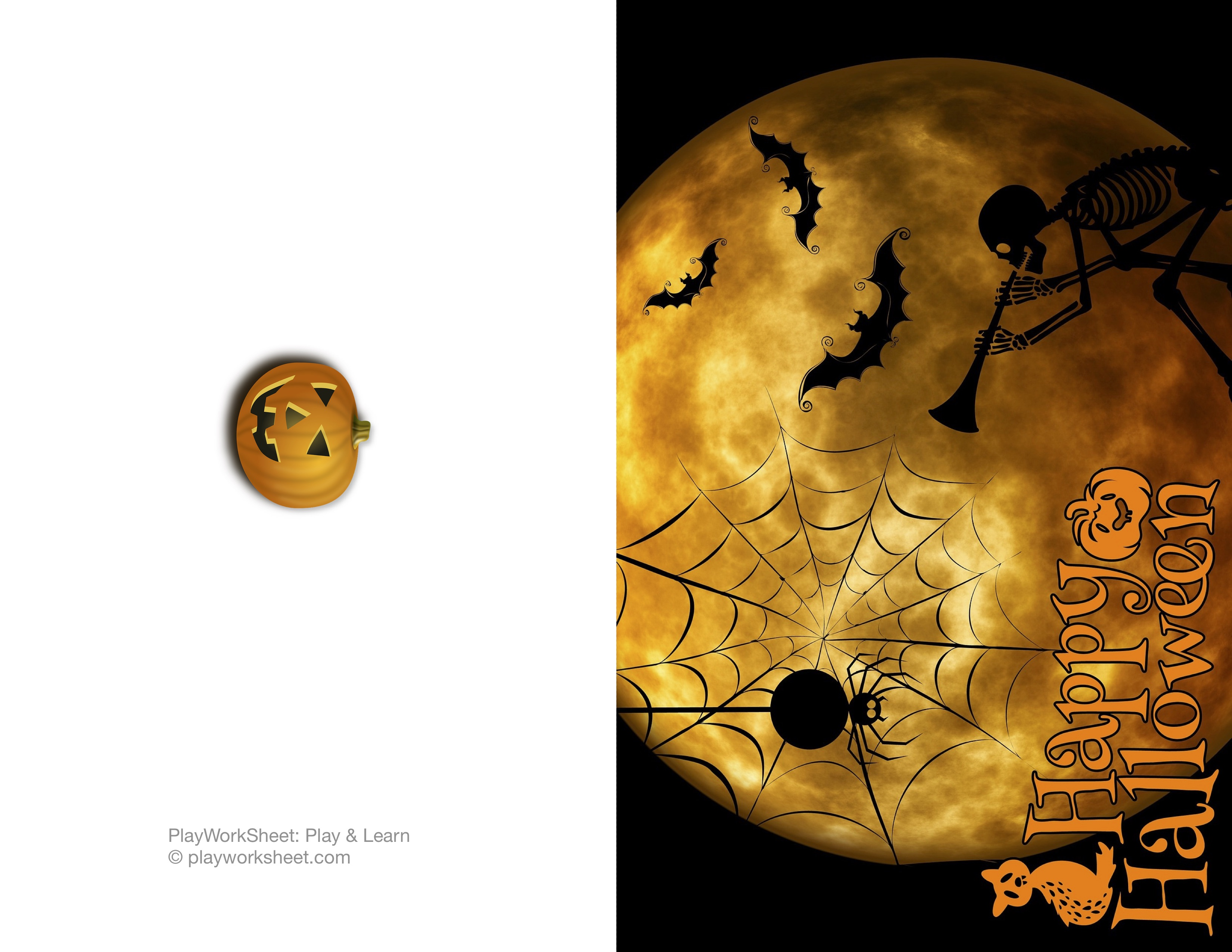 Happy Halloween Card Featuring Moon Skeleton Spider And