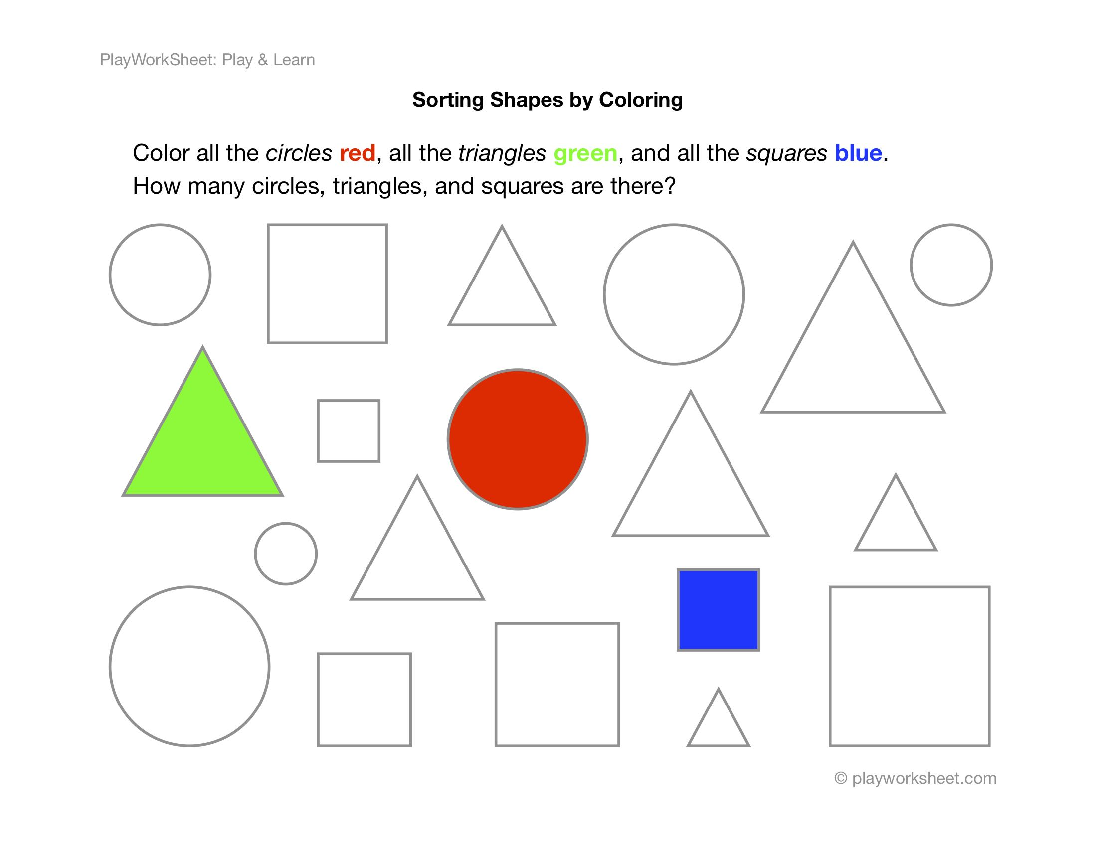 Exercise For Sorting Shapes By Coloring
