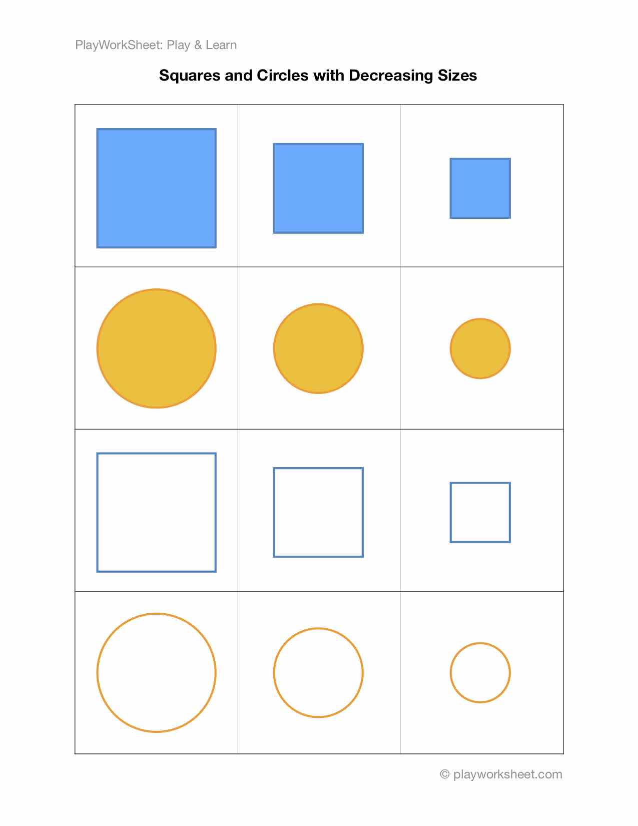 Squares And Circles With Changing Sizes