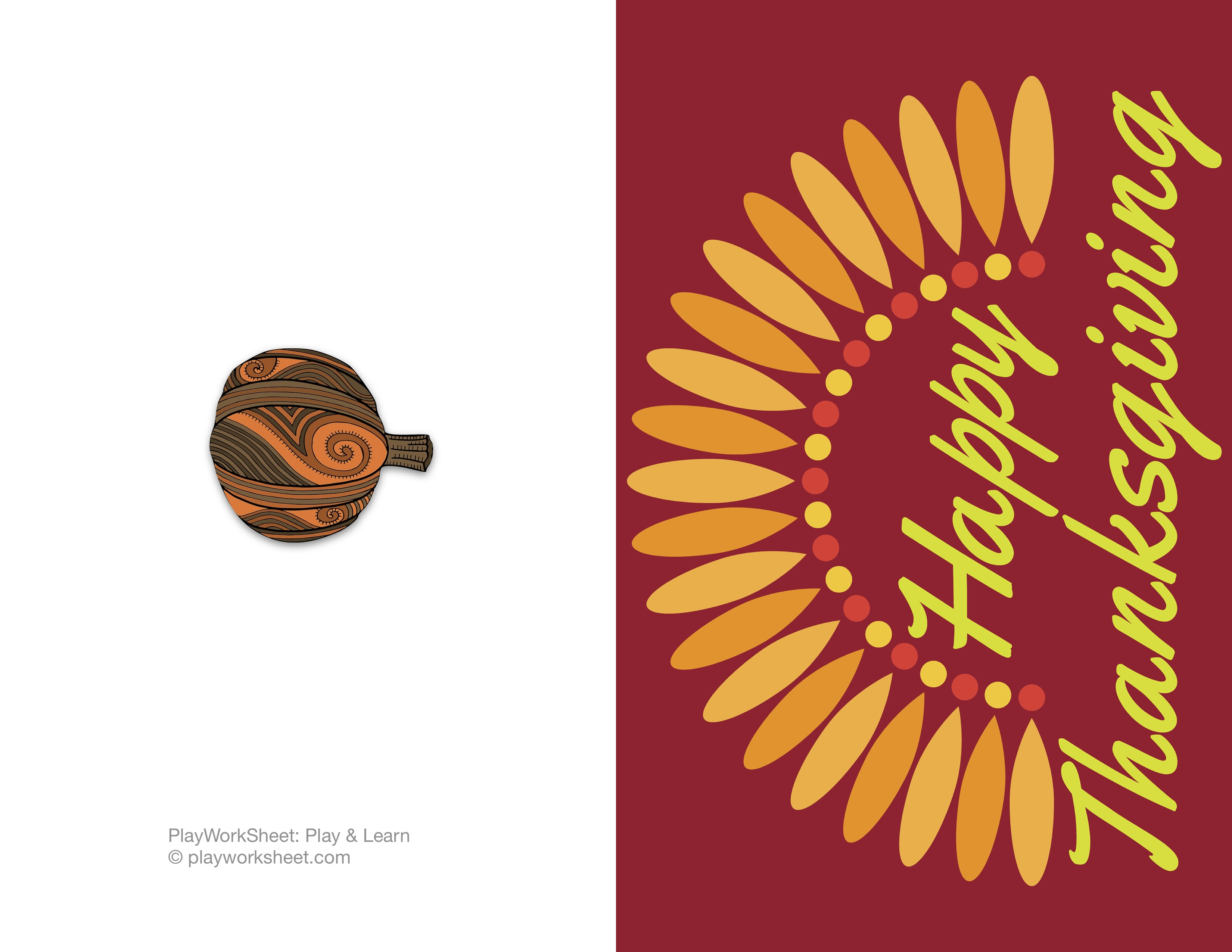 Happy Thanksgiving Card Featuring Simple Turkey Feathers