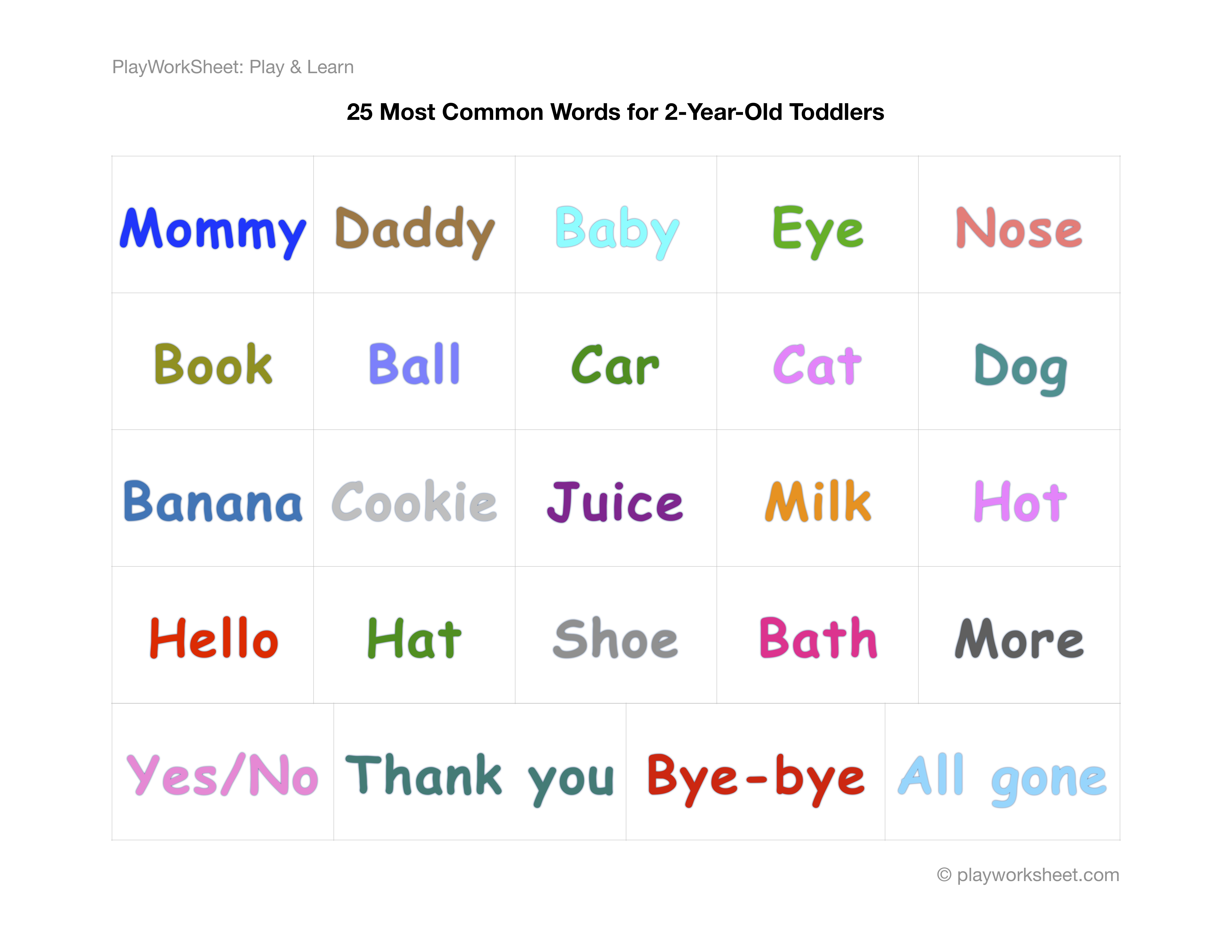 Twenty Five Most Common Words 2 Year Old Toddlers Say