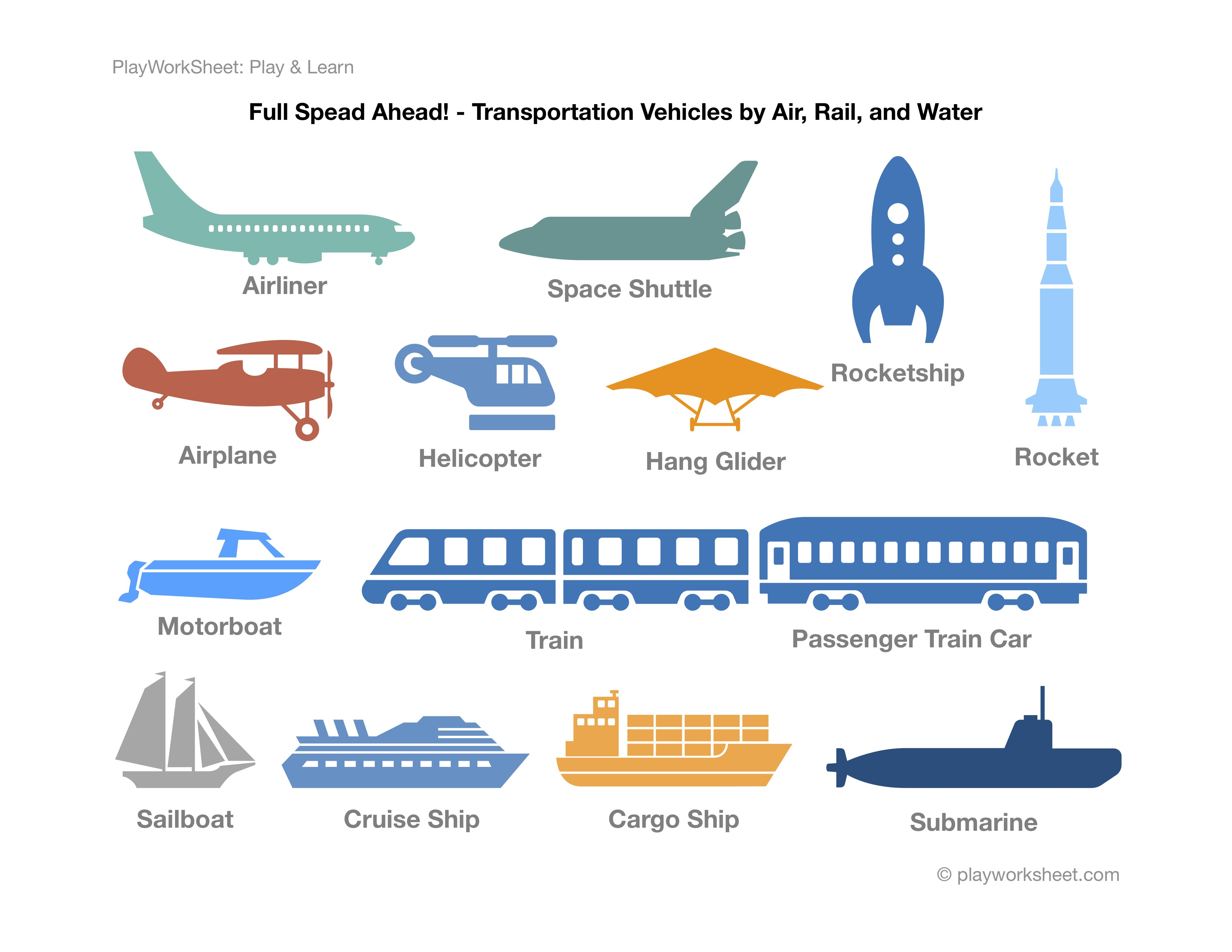 Transportation Vehicles By Air Rail And Water