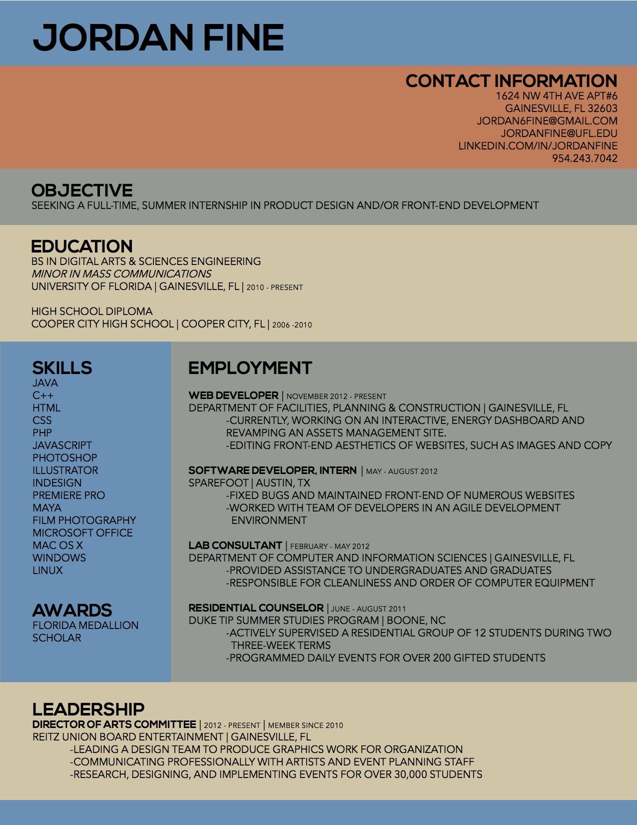 resume for mass communication student