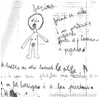 """Dibujo de una de las niñas, el """"señor"""" es Farina"""