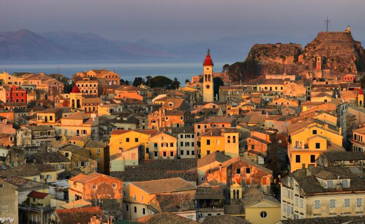 Corfu old town, Greece above