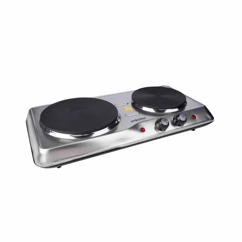 Cocina Elctrica PRACTIKA 2 Quemadores PCE02 Plateado  PlazaVea