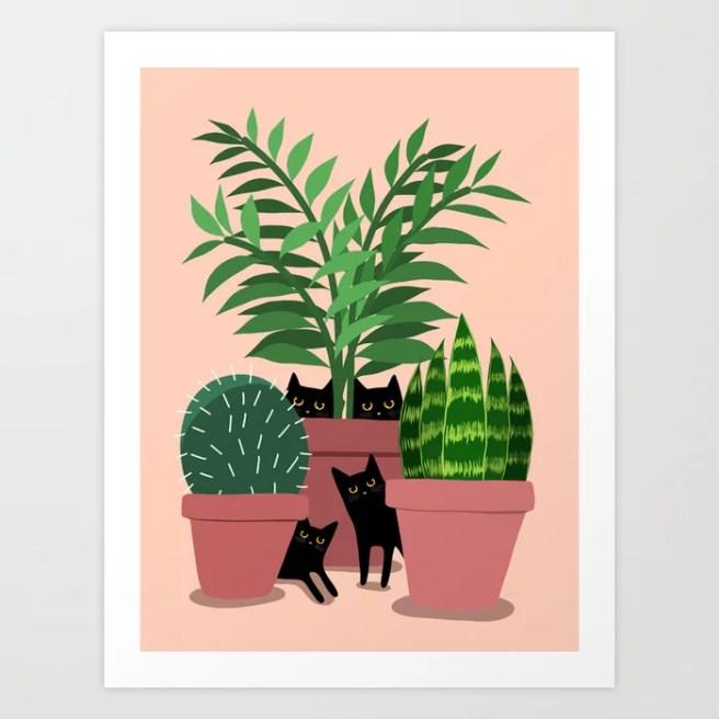 Black Cats & Potted Plants Art Print
