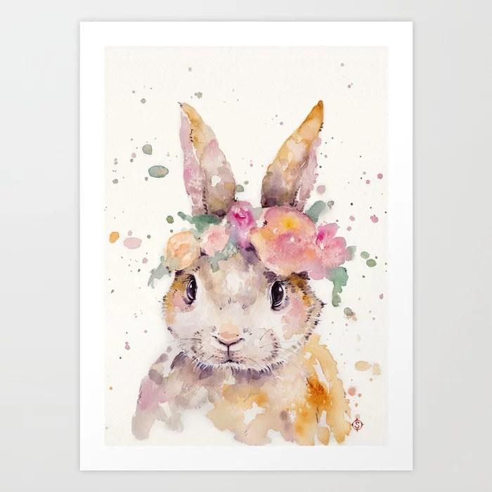 Sunday's Society6 | Happy eastern bunny with flowers, art print