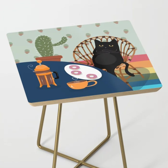 Coffee and Donuts Cat Side Table
