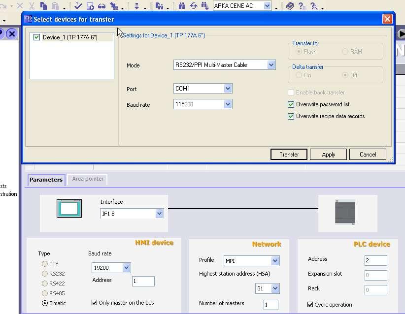 Touch Panel-PC arası ve Toch Panel-PLC arsı Bağlantı