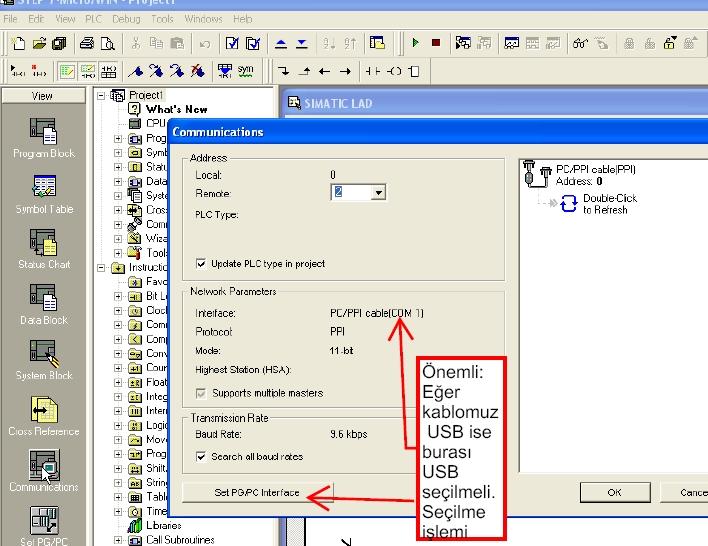 Simens S7-200 S7200 PLC Micro Win Program atma plcden usb kablo seçme
