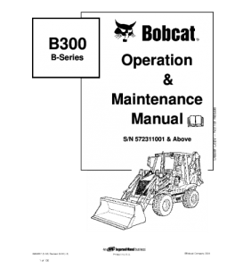 Download Bobcat B300 B Series Backhoe Loader Operation And