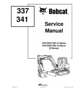 Download Bobcat 337 341 Compact Excavator Service Manual