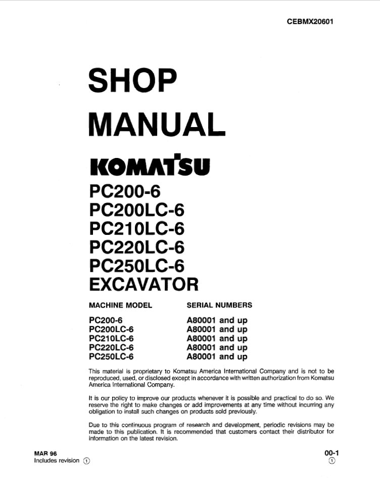 Komatsu PC200-6, PC200LC-6, PC210LC-6, PC220LC-6, PC250LC