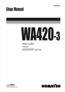 Komatsu WA420-3 WA420H20051 and up Wheel Loader Shop
