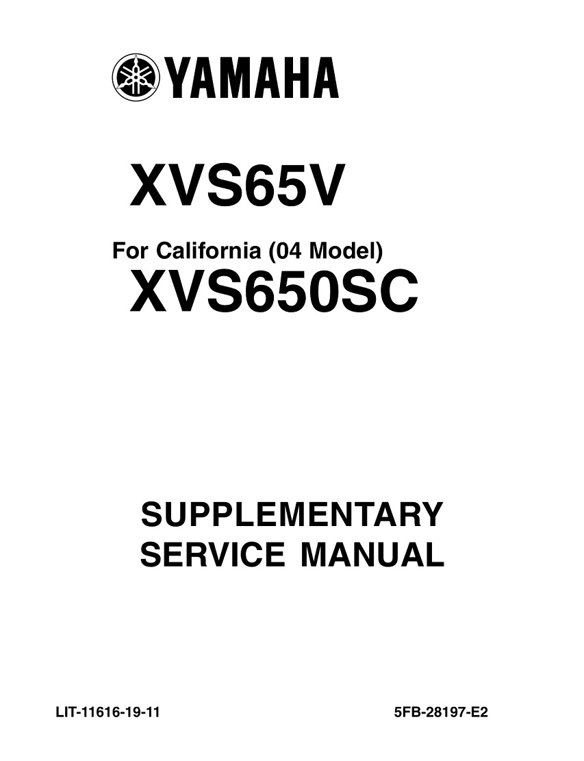 YAMAHA MOTORCYCLE V STAR 650 CUSTOM Workshop & Repair