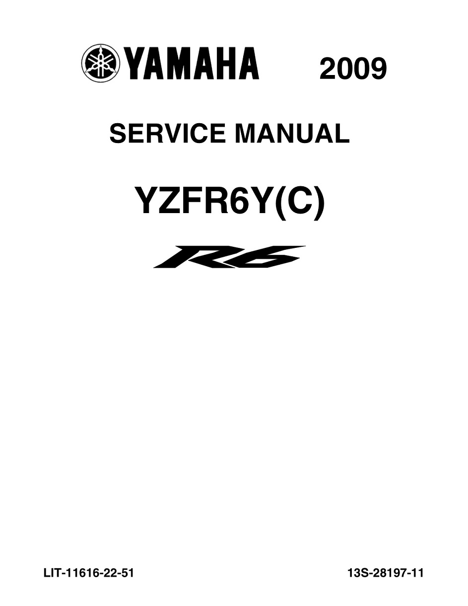 YAMAHA MOTORCYCLE YZF-R6 2009-2015 Workshop & Repair