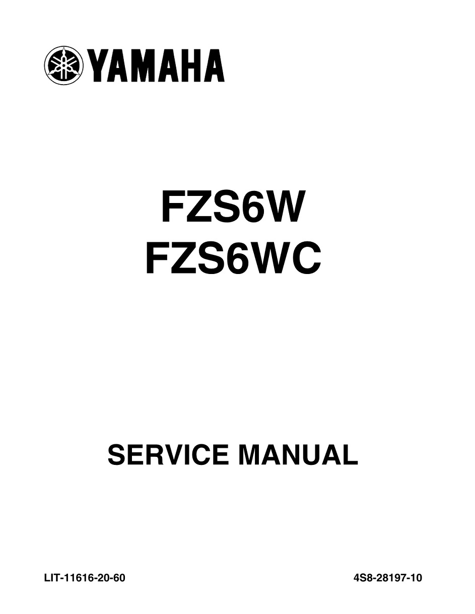 YAMAHA MOTORCYCLE FZS6W FZS6WC FZ6 Workshop & Repair