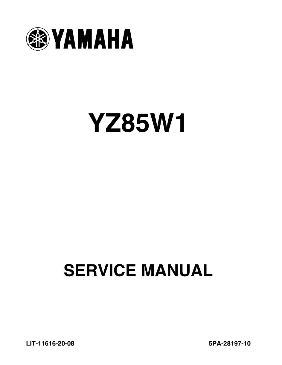 YAMAHA MOTORCYCLE YZ85 YZ85W1 Workshop & Repair manual