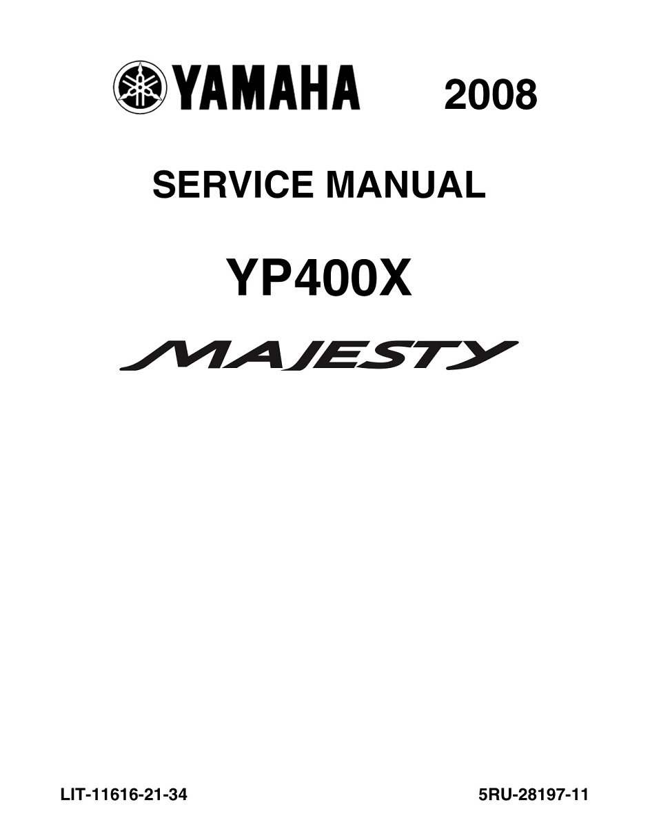 YAMAHA SCOOTER MAJESTY 2008-2014 Workshop & Repair manual