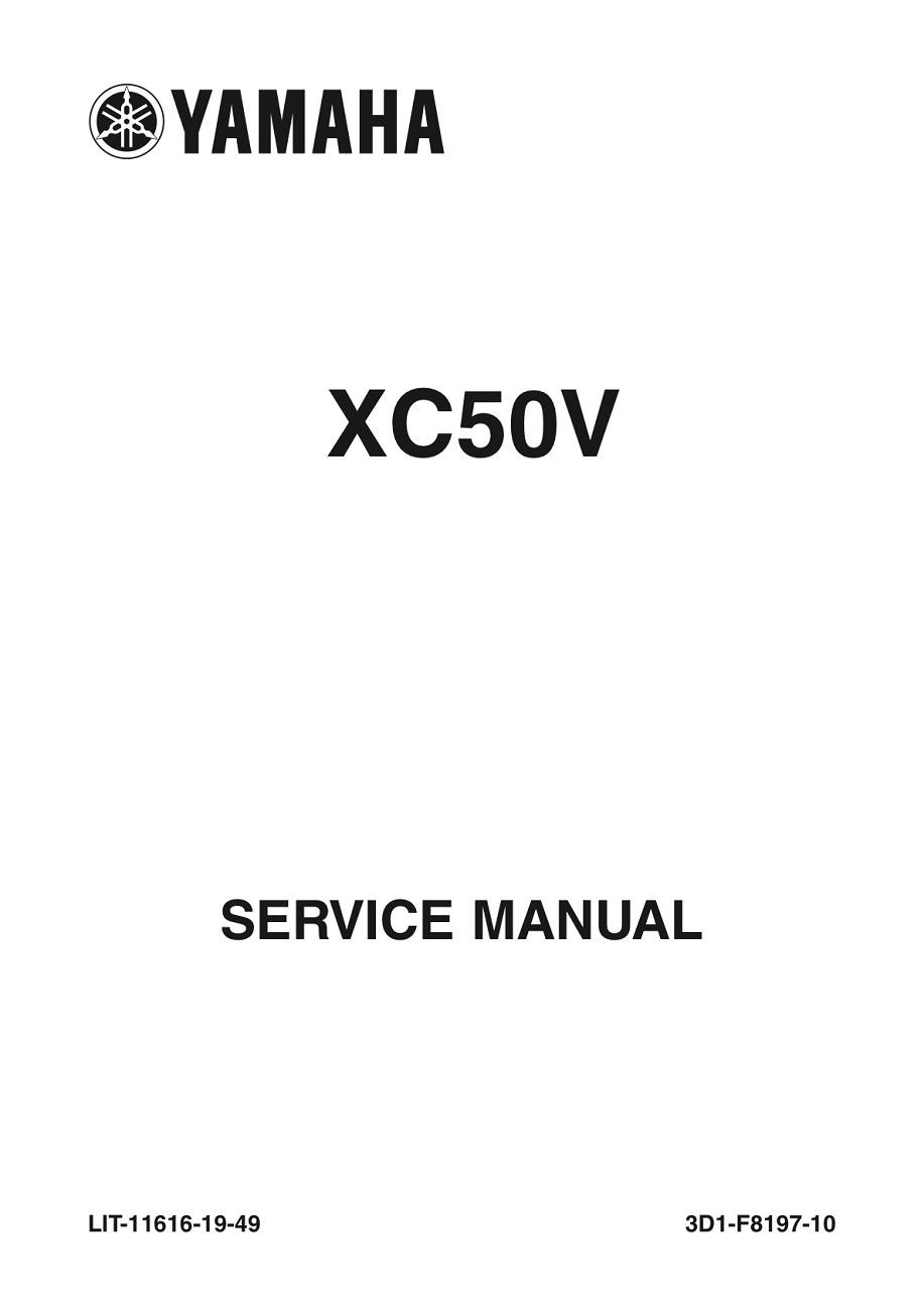 YAMAHA SCOOTER VINO 50 CLASSIC Workshop & Repair manual