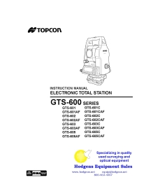 Topcon GTS-600 Series Electronic Total Station Instruction