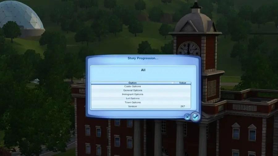 Sims 3 NRaas Story Progression Settings
