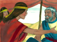The daughters returned to their father, Reuel and told him about how an Egyptian had helped them. Reuel sent them back to invite the man to eat with them.