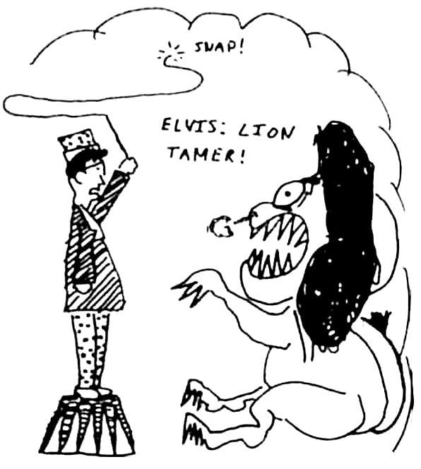 Elvis Costello as the Lion Tamer by Legs McNeil ©